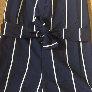 Zaful Other - Zaful Striped Belted Cami Romper *NEW*